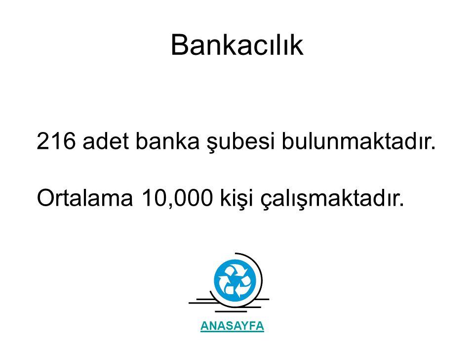 Bankacılık 216 adet banka şubesi bulunmaktadır. Ortalama 10,000 kişi çalışmaktadır. ANASAYFA