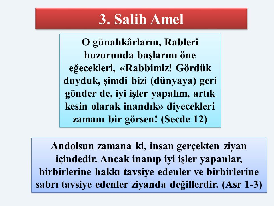 3. Salih Amel O günahkârların, Rableri huzurunda başlarını öne eğecekleri, «Rabbimiz! Gördük duyduk, şimdi bizi (dünyaya) geri gönder de, iyi işler ya