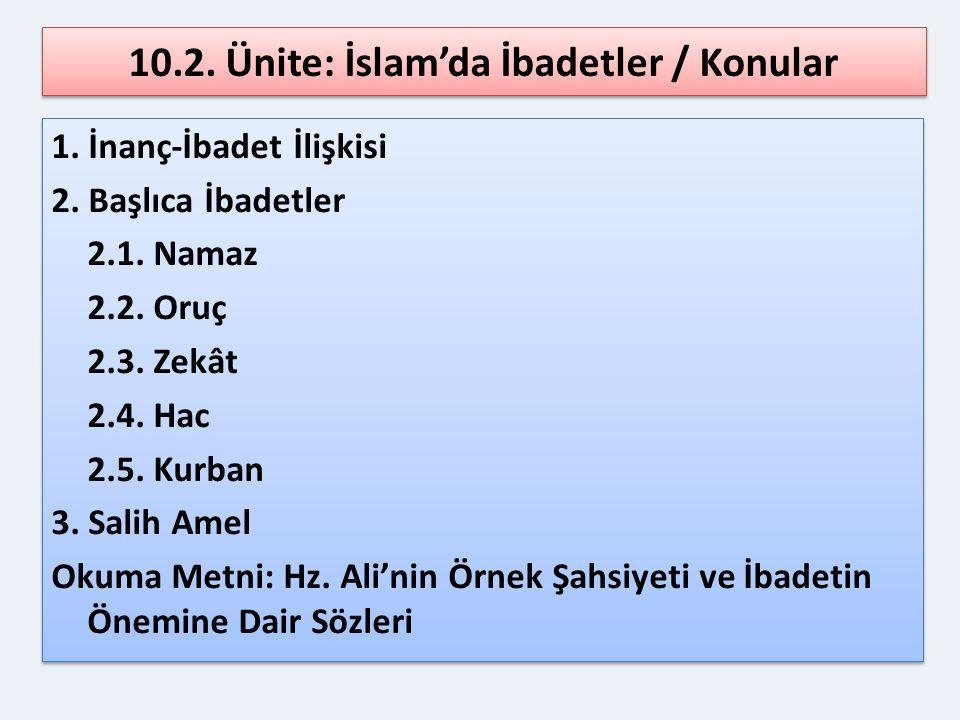 10.2.Ünite: İslam'da İbadetler / Kazanımlar 1. İnanç-ibadet ilişkisinin farkında olur.