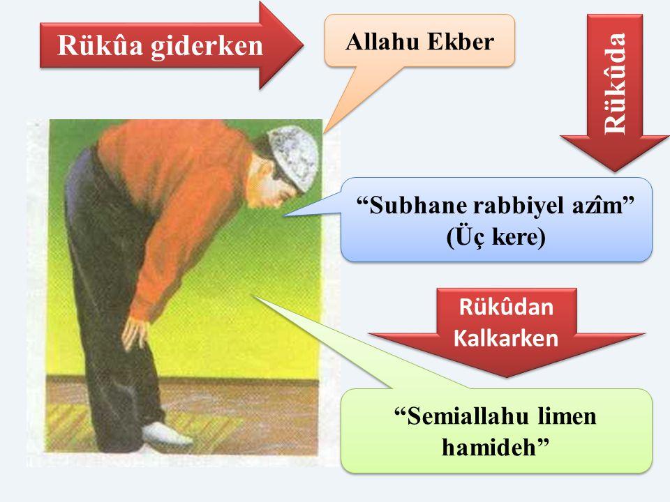 """Allahu Ekber """"Subhane rabbiyel azîm"""" (Üç kere) Rükûa giderken Rükûda Rükûdan Kalkarken Rükûdan Kalkarken """"Semiallahu limen hamideh"""""""