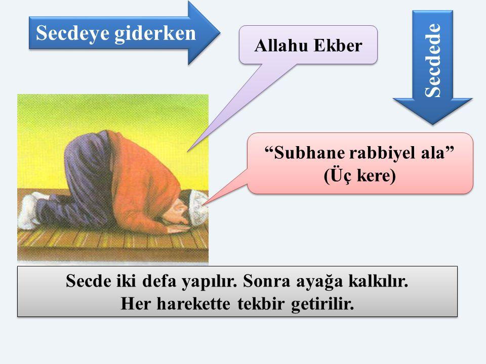 """Allahu Ekber """"Subhane rabbiyel ala"""" (Üç kere) Secdeye giderken Secdede Secde iki defa yapılır. Sonra ayağa kalkılır. Her harekette tekbir getirilir. S"""