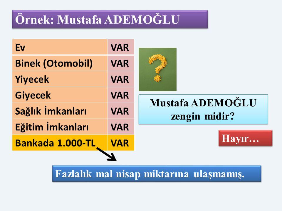 Örnek: Mustafa ADEMOĞLU EvVAR Binek (Otomobil)VAR YiyecekVAR GiyecekVAR Sağlık İmkanlarıVAR Eğitim İmkanlarıVAR Bankada 1.000-TLVAR Mustafa ADEMOĞLU z