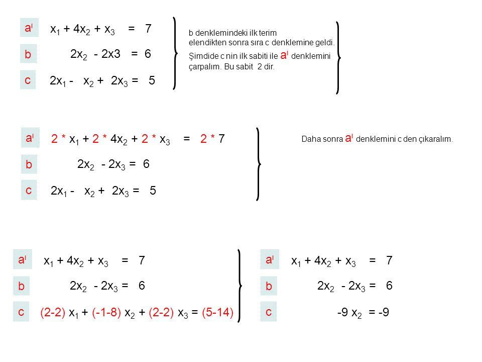 x 1 + 4x 2 + x 3 = 7 2x 2 - 2x3 = 6 2x 1 - x 2 + 2x 3 = 5 aıaı b c b denklemindeki ilk terim elendikten sonra sıra c denklemine geldi.