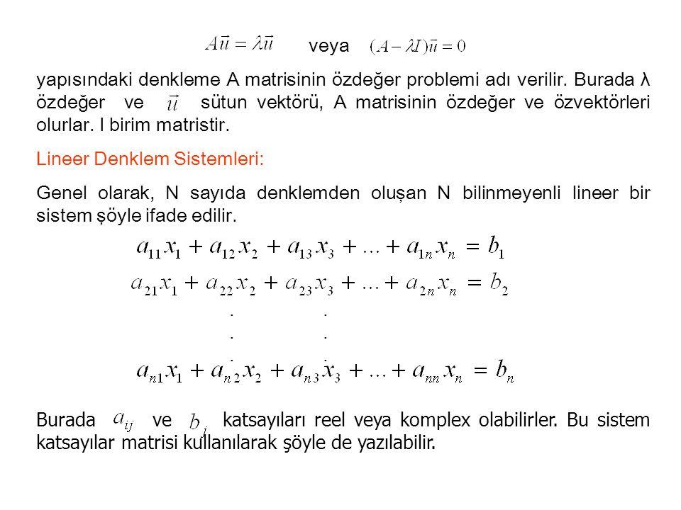 veya yapısındaki denkleme A matrisinin özdeğer problemi adı verilir. Burada λ özdeğer ve sütun vektörü, A matrisinin özdeğer ve özvektörleri olurlar.