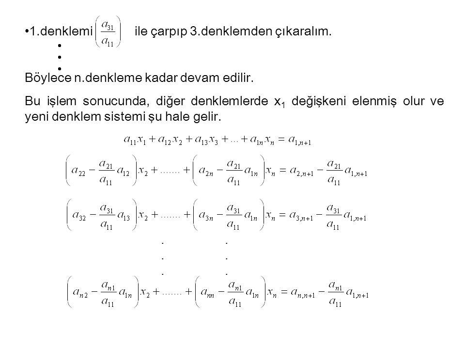 1.denklemi ile çarpıp 3.denklemden çıkaralım. Böylece n.denkleme kadar devam edilir. Bu işlem sonucunda, diğer denklemlerde x 1 değişkeni elenmiş olur