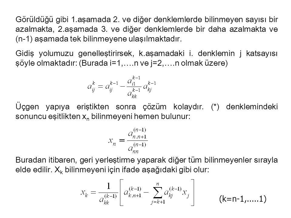 Görüldüğü gibi 1.aşamada 2. ve diğer denklemlerde bilinmeyen sayısı bir azalmakta, 2.aşamada 3. ve diğer denklemlerde bir daha azalmakta ve (n-1) aşam