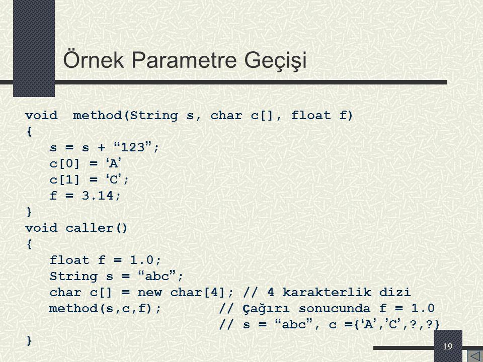 18 Java ' da Parametre Geçişi Java programlama dilinde yöntemlere parametre geçişi sadece bir şekilde yapılır. Tüm parametreler değerleri kopyalanarak