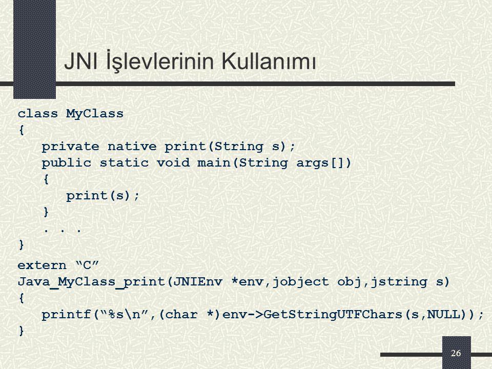25 Java – JNI Referans Veri Türü Eşleştirmesi