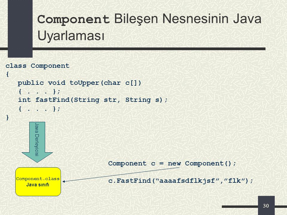 29 IComponent Arabirimi IDL Tanımı interface IComponent::IUnknown { // Verilen harfi buyuk harfe donusturur void toUpper(in out char c); // str karakt