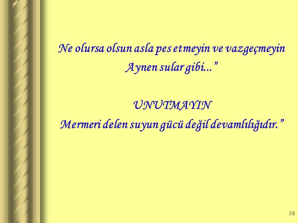 37 E) UMUTSUZLU Ğ A KAPILMA PES ETME Motivasyonun önündeki bir diğer iç etken de umutsuzluğa kapılarak, pes etmedir.