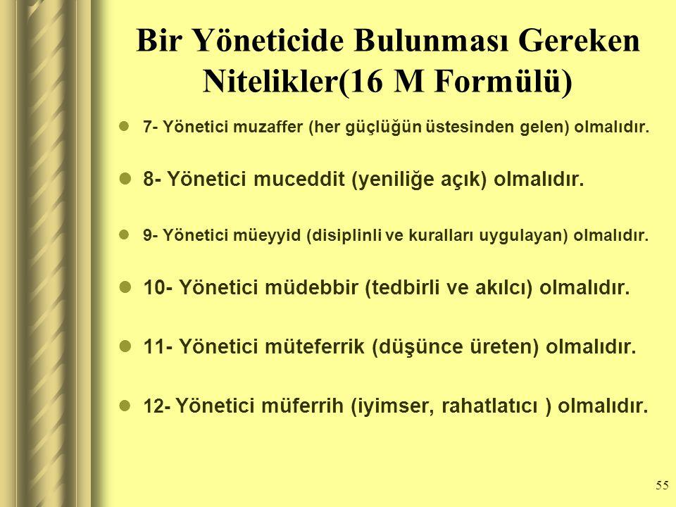 54 Bir Yöneticide Bulunması Gereken Nitelikler(16 M Formülü) 1- Yönetici muteber(saygın ve güveniler) olmalıdır. 2- Yönetici mutedil (ölçülü ve ılımlı
