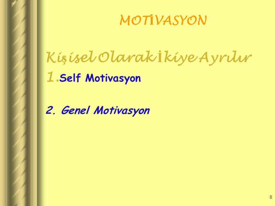 8 MOT İ VASYON Ki ş isel Olarak İ kiye Ayrılır 1. Self Motivasyon 2. Genel Motivasyon