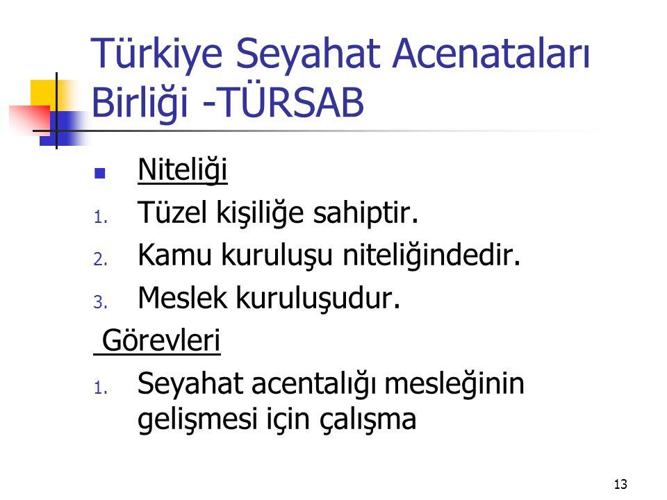 13 Türkiye Seyahat Acenataları Birliği -TÜRSAB Niteliği 1. Tüzel kişiliğe sahiptir. 2. Kamu kuruluşu niteliğindedir. 3. Meslek kuruluşudur. Görevleri