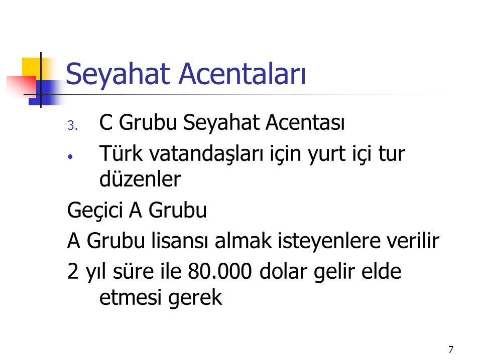 7 Seyahat Acentaları 3. C Grubu Seyahat Acentası Türk vatandaşları için yurt içi tur düzenler Geçici A Grubu A Grubu lisansı almak isteyenlere verilir