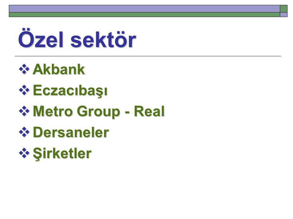 Özel sektör  Akbank  Eczacıbaşı  Metro Group - Real  Dersaneler  Şirketler