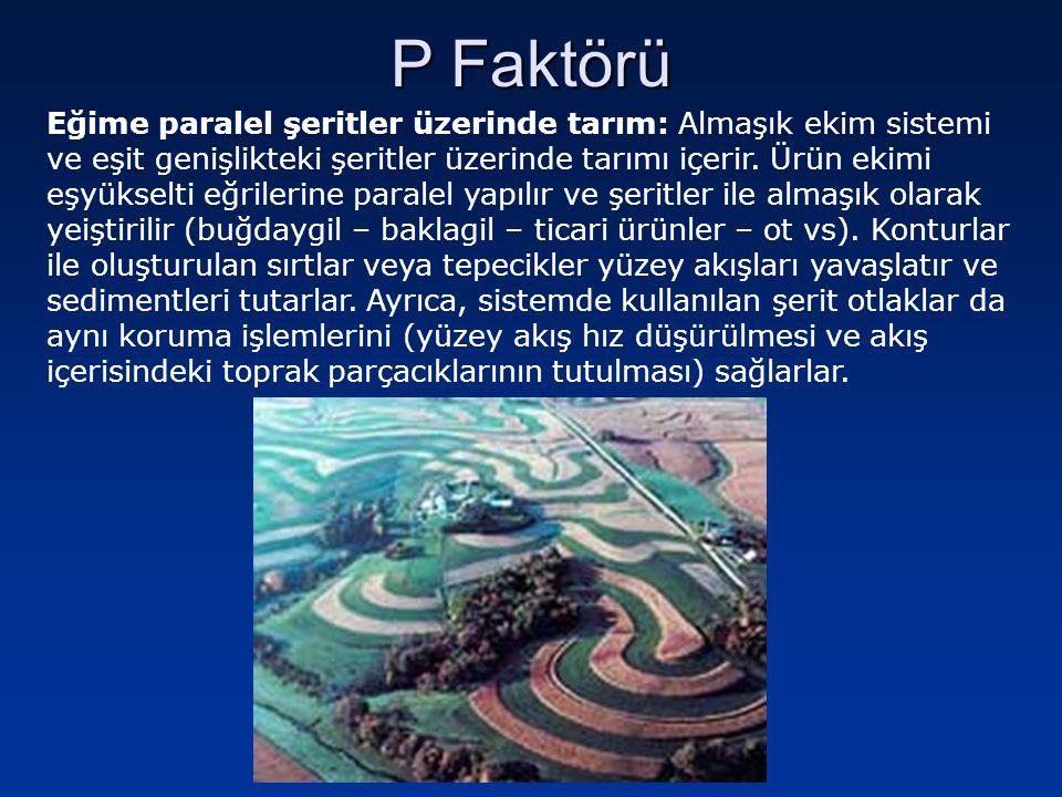 Eğime paralel şeritler üzerinde tarım: Almaşık ekim sistemi ve eşit genişlikteki şeritler üzerinde tarımı içerir. Ürün ekimi eşyükselti eğrilerine par