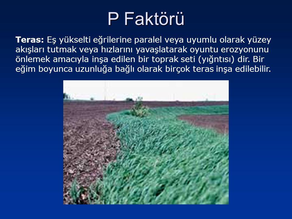 P Faktörü ÖRNEK - 2 Bu arazide teraslar üzerinde buğdaygil tarımı yapıldığını düşünerek toprak kayıplarını hesaplayınız (A 2 ).