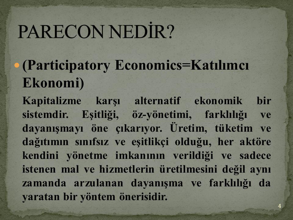 (Participatory Economics=Katılımcı Ekonomi) Kapitalizme karşı alternatif ekonomik bir sistemdir. Eşitliği, öz-yönetimi, farklılığı ve dayanışmayı öne