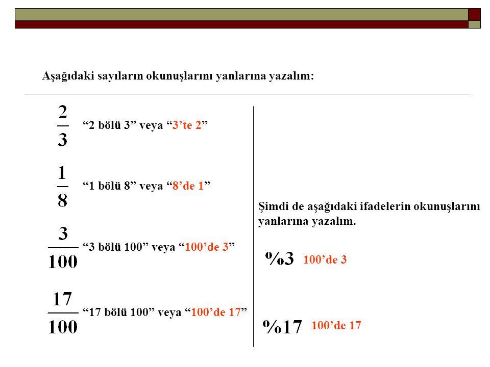 """Aşağıdaki sayıların okunuşlarını yanlarına yazalım: """"2 bölü 3"""" veya """"3'te 2"""" """"1 bölü 8"""" veya """"8'de 1"""" """"3 bölü 100"""" veya """"100'de 3"""" """"17 bölü 100"""" veya"""