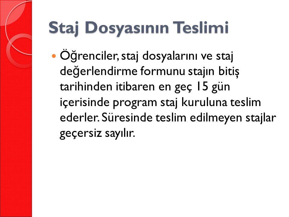 Staj Dosyasının Teslimi Ö ğ renciler, staj dosyalarını ve staj de ğ erlendirme formunu stajın bitiş tarihinden itibaren en geç 15 gün içerisinde program staj kuruluna teslim ederler.