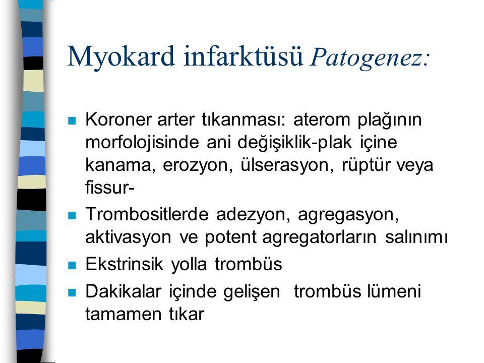 Myokard infarktüsü Patogenez: n Koroner arter tıkanması: aterom plağının morfolojisinde ani değişiklik-plak içine kanama, erozyon, ülserasyon, rüptür