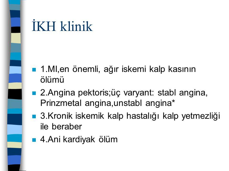 İKH klinik n 1.MI,en önemli, ağır iskemi kalp kasının ölümü n 2.Angina pektoris;üç varyant: stabl angina, Prinzmetal angina,unstabl angina* n 3.Kronik
