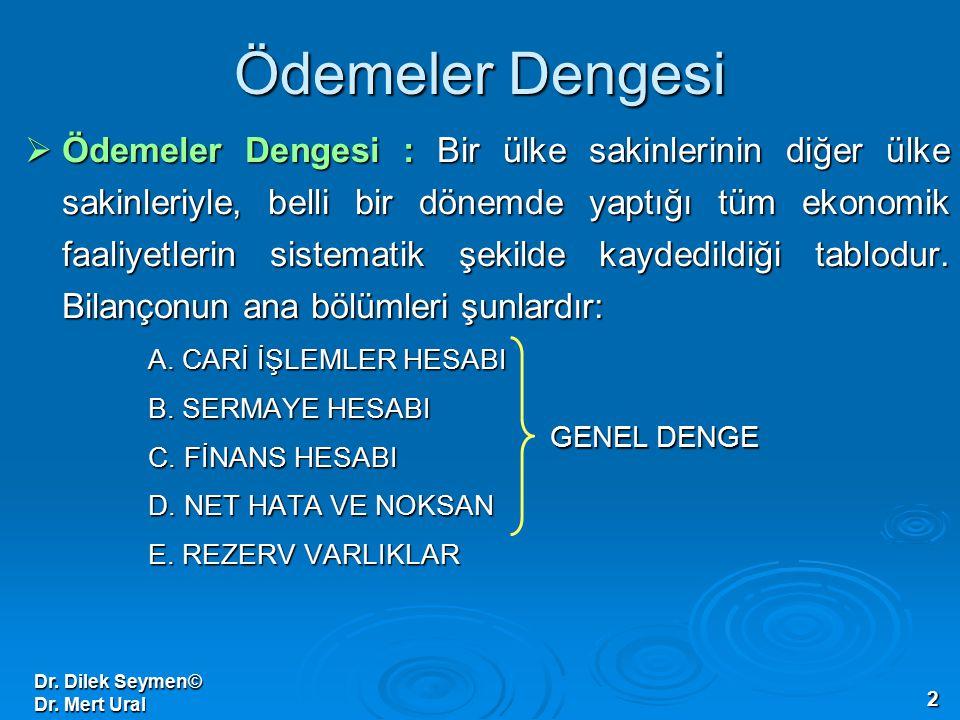 Dr. Dilek Seymen© Dr. Mert Ural 2 Ödemeler Dengesi  Ödemeler Dengesi : Bir ülke sakinlerinin diğer ülke sakinleriyle, belli bir dönemde yaptığı tüm e