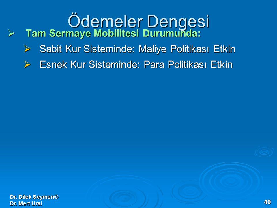 Dr. Dilek Seymen© Dr. Mert Ural 40 Ödemeler Dengesi  Tam Sermaye Mobilitesi Durumunda:  Sabit Kur Sisteminde: Maliye Politikası Etkin  Esnek Kur Si
