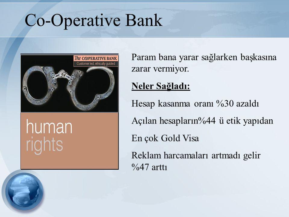 Co-Operative Bank Param bana yarar sağlarken başkasına zarar vermiyor. Neler Sağladı: Hesap kasanma oranı %30 azaldı Açılan hesapların%44 ü etik yapıd