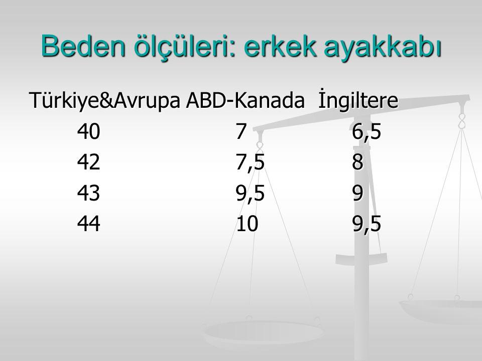 Beden ölçüleri: erkek ayakkabı Türkiye&Avrupa ABD-Kanadaİngiltere 40 7 6,5 42 7,5 8 43 9,5 9 44 10 9,5