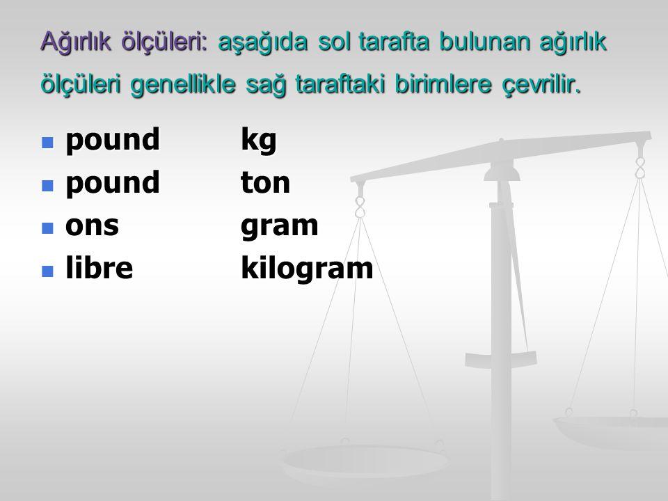 Ağırlık ölçüleri: aşağıda sol tarafta bulunan ağırlık ölçüleri genellikle sağ taraftaki birimlere çevrilir.