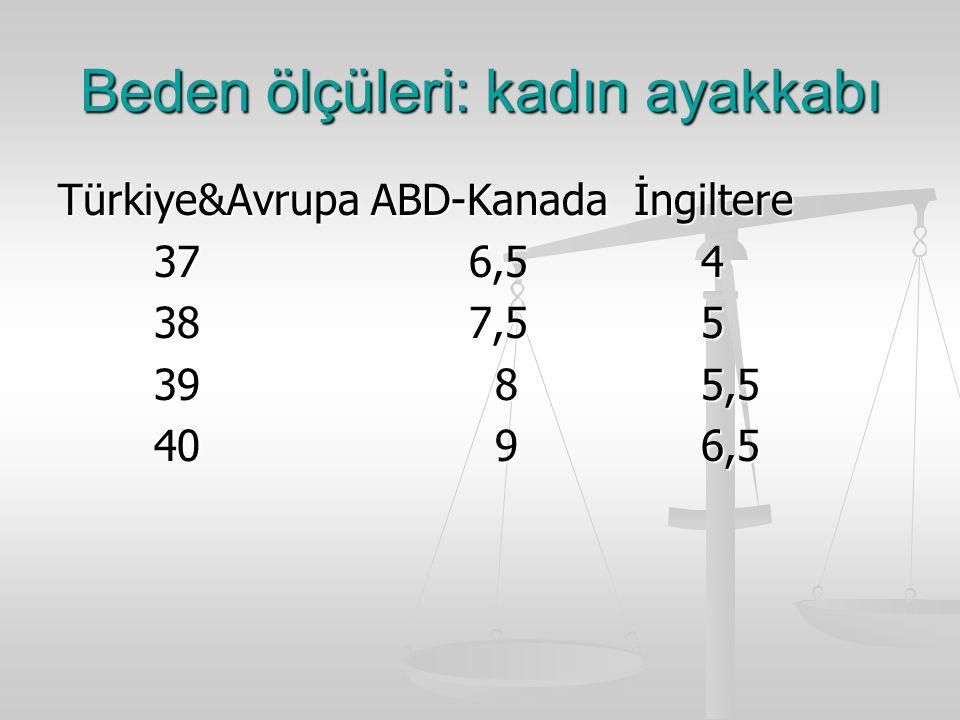 Beden ölçüleri: kadın ayakkabı Türkiye&Avrupa ABD-Kanadaİngiltere 37 6,5 4 38 7,5 5 39 8 5,5 40 9 6,5