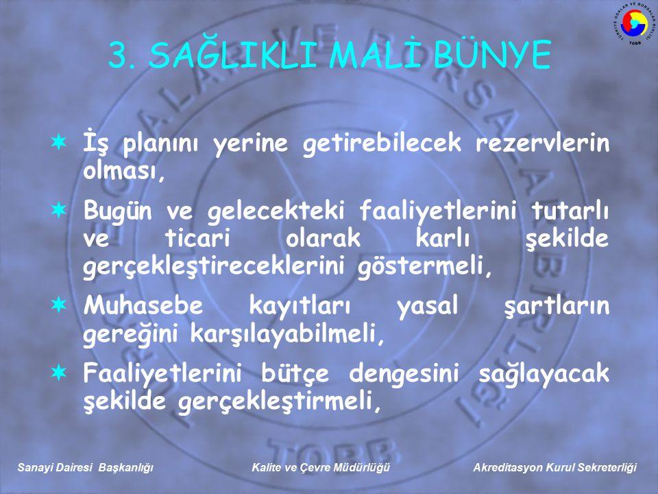 Sanayi Dairesi Başkanlığı Kalite ve Çevre Müdürlüğü Akreditasyon Kurul Sekreterliği 3.