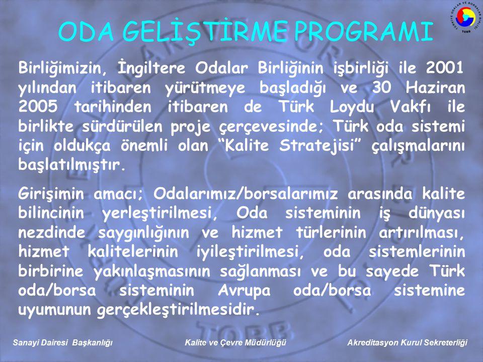 Sanayi Dairesi Başkanlığı Kalite ve Çevre Müdürlüğü Akreditasyon Kurul Sekreterliği ODA GELİŞTİRME PROGRAMI Birliğimizin, İngiltere Odalar Birliğinin işbirliği ile 2001 yılından itibaren yürütmeye başladığı ve 30 Haziran 2005 tarihinden itibaren de Türk Loydu Vakfı ile birlikte sürdürülen proje çerçevesinde; Türk oda sistemi için oldukça önemli olan Kalite Stratejisi çalışmalarını başlatılmıştır.