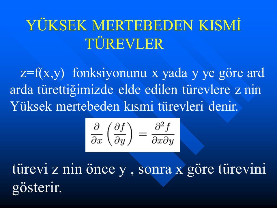 türevleri ise sırasıyla, z nin x ve y göre ikinci türevlerini gösterir.