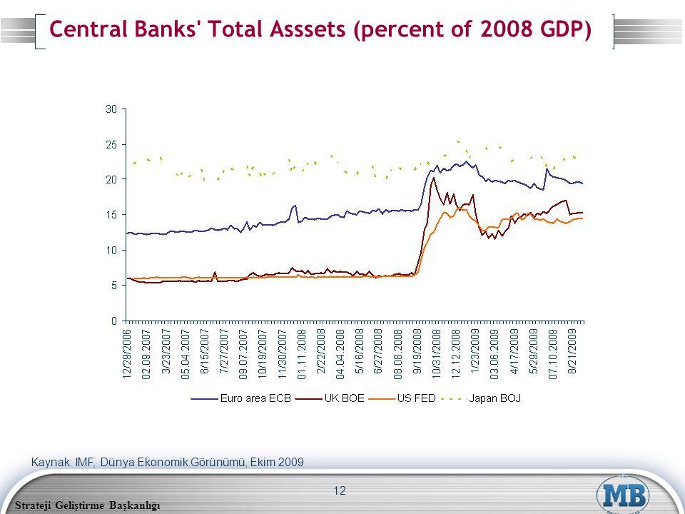 Strateji Geliştirme Başkanlığı 12 Central Banks Total Asssets (percent of 2008 GDP) Kaynak: IMF, Dünya Ekonomik Görünümü, Ekim 2009