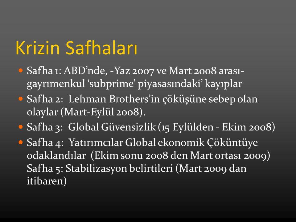 Krizin Safhaları Safha 1: ABD'nde, -Yaz 2007 ve Mart 2008 arası- gayrımenkul 'subprime' piyasasındaki' kayıplar Safha 2: Lehman Brothers'in çöküşüne sebep olan olaylar (Mart-Eylül 2008).