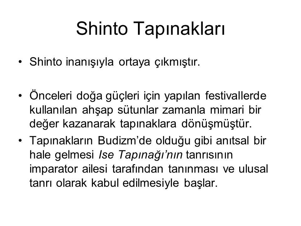 Shinto Tapınakları Shinto inanışıyla ortaya çıkmıştır. Önceleri doğa güçleri için yapılan festivallerde kullanılan ahşap sütunlar zamanla mimari bir d
