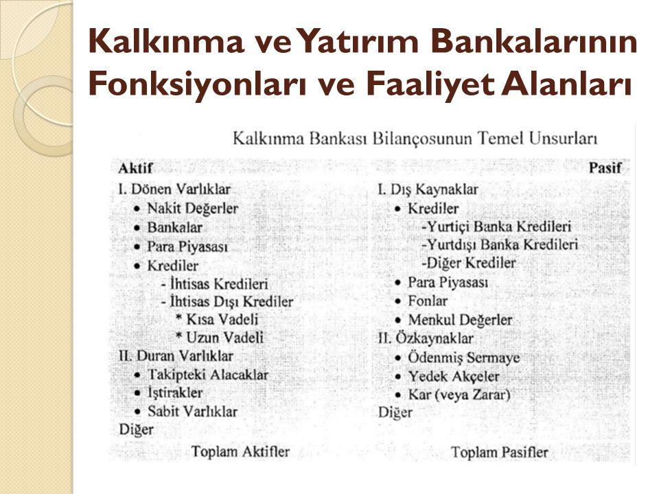 Kalkınma ve Yatırım Bankalarının Fonksiyonları ve Faaliyet Alanları