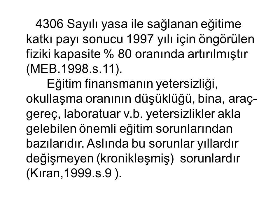 4306 Sayılı yasa ile sağlanan eğitime katkı payı sonucu 1997 yılı için öngörülen fiziki kapasite % 80 oranında artırılmıştır (MEB.1998.s.11).