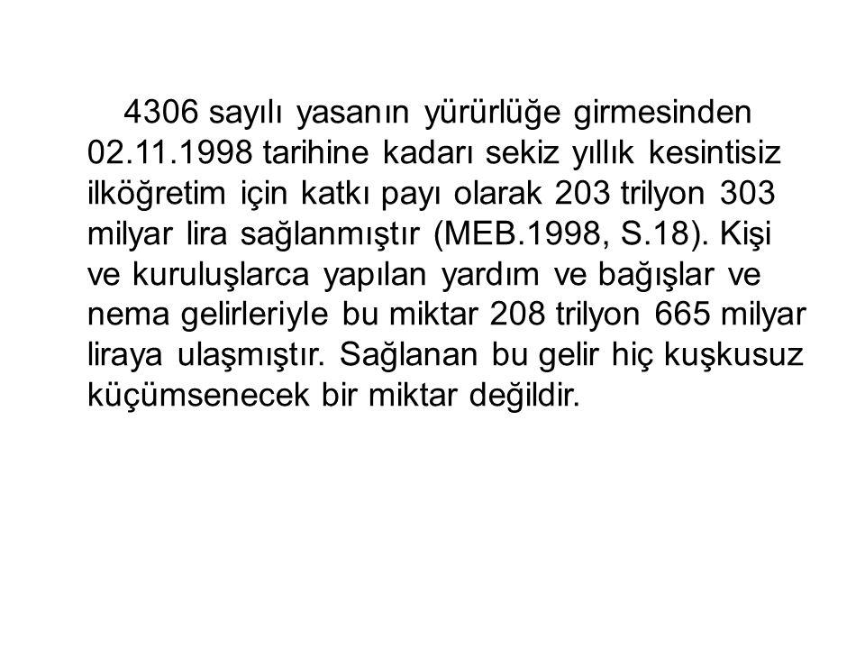 4306 sayılı yasanın yürürlüğe girmesinden 02.11.1998 tarihine kadarı sekiz yıllık kesintisiz ilköğretim için katkı payı olarak 203 trilyon 303 milyar lira sağlanmıştır (MEB.1998, S.18).