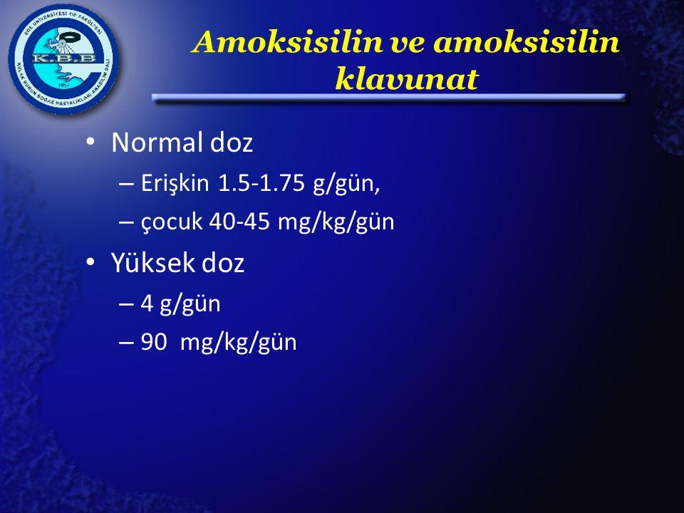 Amoksisilin ve amoksisilin klavunat Normal doz – Erişkin 1.5-1.75 g/gün, – çocuk 40-45 mg/kg/gün Yüksek doz – 4 g/gün – 90 mg/kg/gün