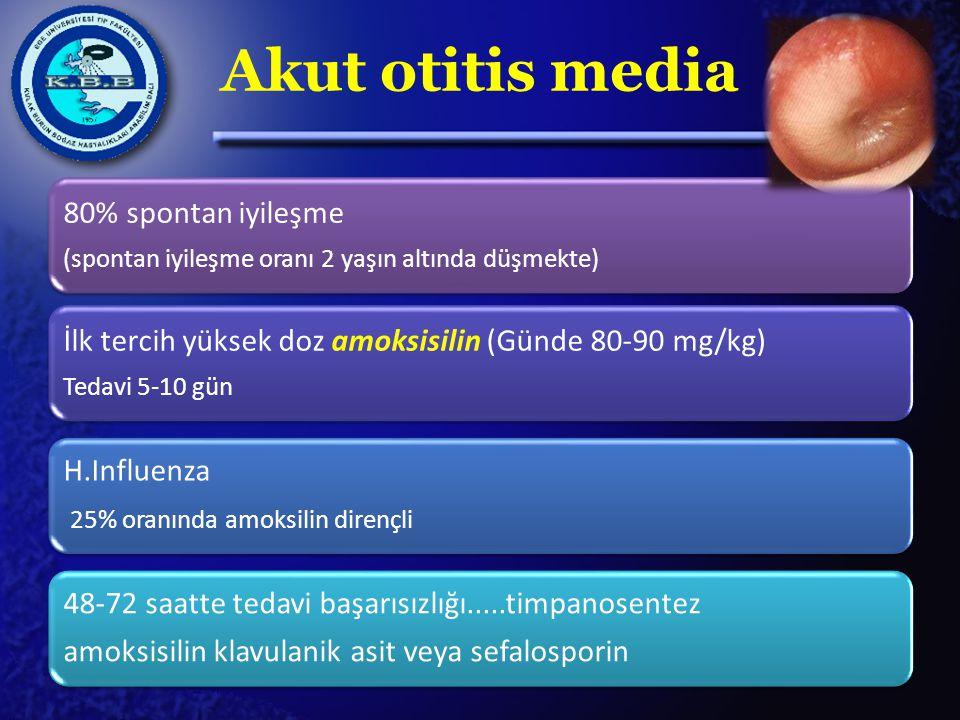 Akut otitis media 80% spontan iyileşme (spontan iyileşme oranı 2 yaşın altında düşmekte) İlk tercih yüksek doz amoksisilin (Günde 80-90 mg/kg) Tedavi