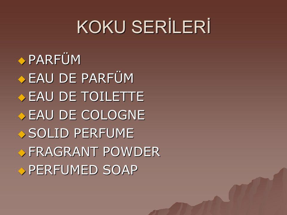 KOKU SERİLERİ  PARFÜM  EAU DE PARFÜM  EAU DE TOILETTE  EAU DE COLOGNE  SOLID PERFUME  FRAGRANT POWDER  PERFUMED SOAP