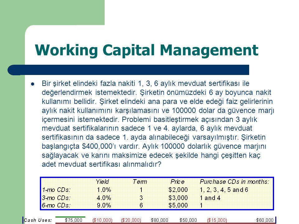 Working Capital Management Bir şirket elindeki fazla nakiti 1, 3, 6 aylık mevduat sertifikası ile değerlendirmek istemektedir.