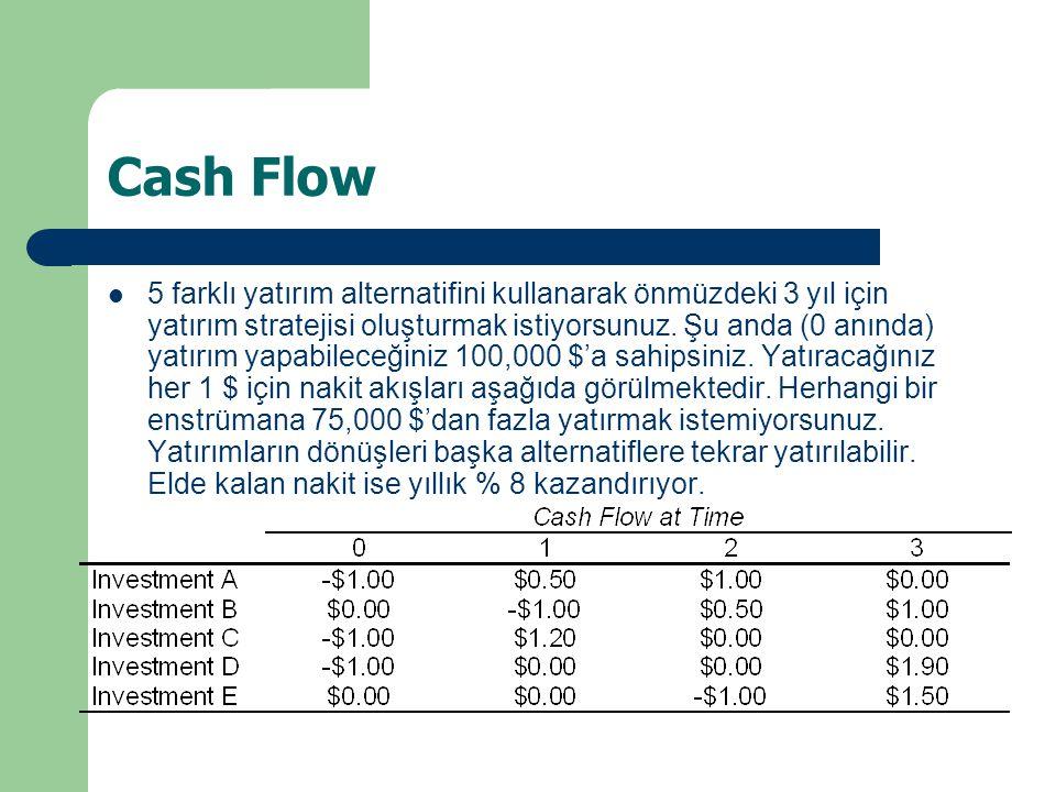 Cash Flow 5 farklı yatırım alternatifini kullanarak önmüzdeki 3 yıl için yatırım stratejisi oluşturmak istiyorsunuz.