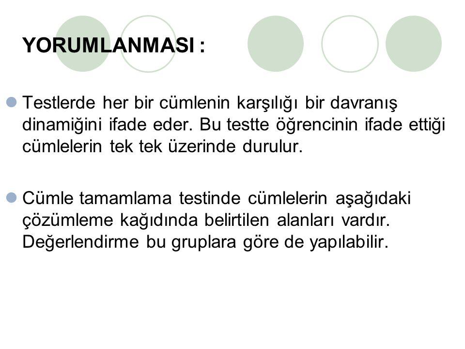 YORUMLANMASI : Testlerde her bir cümlenin karşılığı bir davranış dinamiğini ifade eder.