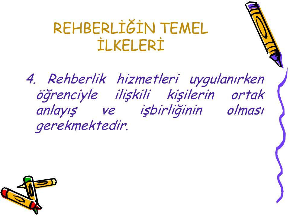 REHBERLİĞİN TEMEL İLKELERİ 3. Rehberlik hizmetleri ve öğretim çalışmaları karşılıklı olarak birbirine bağımlıdır.