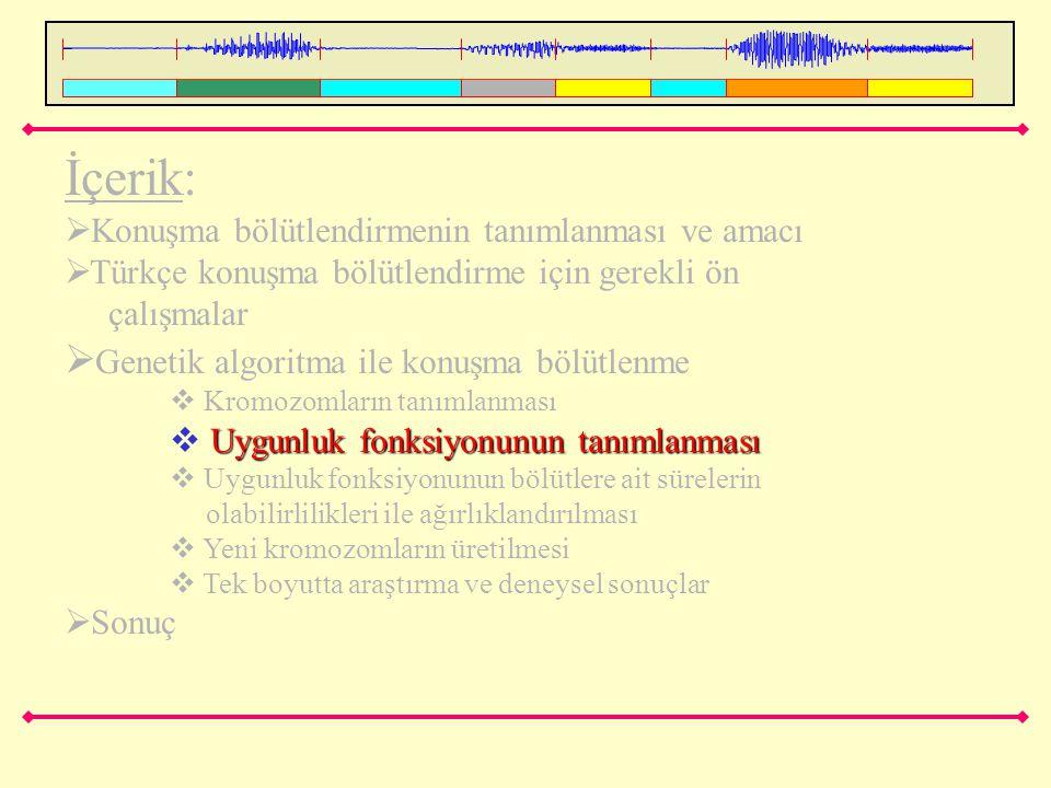 İçerik:  Konuşma bölütlendirmenin tanımlanması ve amacı  Türkçe konuşma bölütlendirme için gerekli ön çalışmalar  Genetik algoritma ile konuşma böl