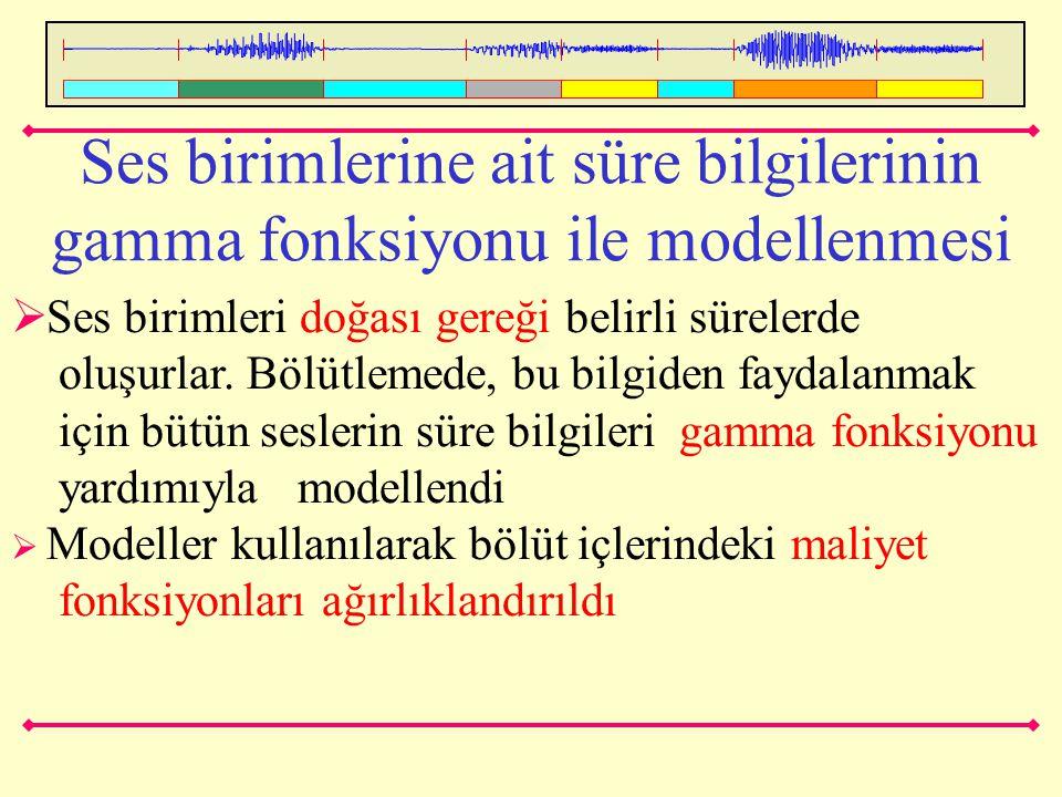 Ses birimlerine ait süre bilgilerinin gamma fonksiyonu ile modellenmesi  Ses birimleri doğası gereği belirli sürelerde oluşurlar. Bölütlemede, bu bil